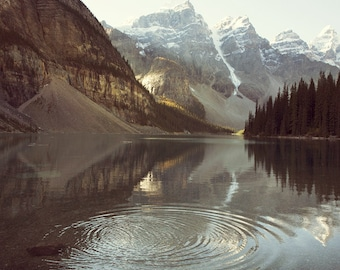 "Mountain Print, Landscape Photography, Rustic Decor, Nature Photography Print, Landscape Print, Rocky Mountains, Moraine Lake ""Ripples"""