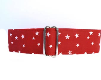 Red Martingale Collar, 1.5 Inch Martingale Collar, Stars Martingale Collar, Red Stars, Red Dog Collar, Martingale Dog Collar