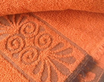 Vintage Towel Vintage Bath Towel Retro Orange Mod Floral Towel