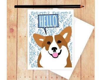Corgi Card, Dog Birthday Card, Cute Dog Card, Corgi Art, Corgi Artwork, Hello Card, Get Well Card, Happy Birthday Card, Dog Art