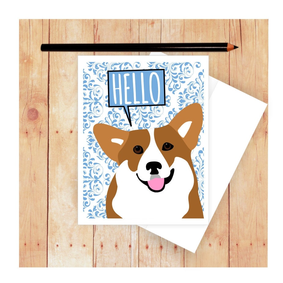 Corgi card dog birthday card cute dog card corgi art corgi zoom kristyandbryce Choice Image
