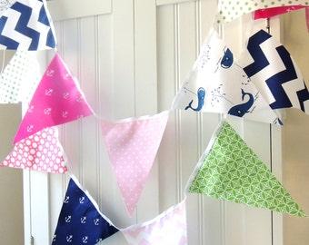 Banner, Bunting, Fabric Pennant Flags, Nautical Girl, Whales, Anchors, Navy Blue, Green, Pink, Polka Dot, Chevron, Baby Nursery, Birthday