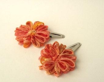 Flower Hair Clips, 2 papaya orange daisies for your hair