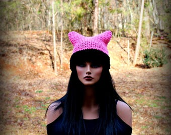 Black Pink Hat, Pink Beanie Hat, Black Cat Hat, Black Beanie, Womens Cat Hat, Cat Ears Hat, Cat Hat, Black Hat, Chunky Hat, Cat Ears Beanie