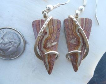 Sandstone Silver Wrapped Earrings