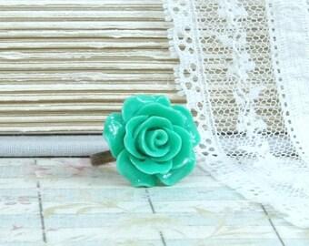 Green Rose Ring Woodland Ring Green Flower Ring Adjustable Ring Green Floral Ring Rose Cabochon Ring
