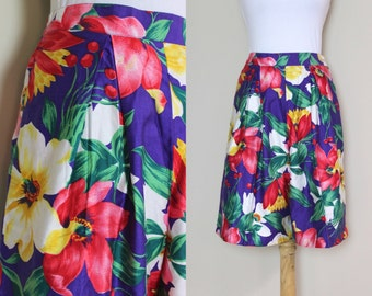 Bright Tropical Purple High Waisted Shorts / Vintage Floral Shorts with Pockets