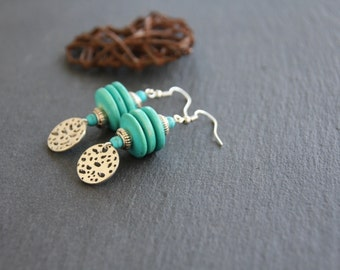 ethnic earrings, turquoise heishi coco slices, ethnic silvered charm