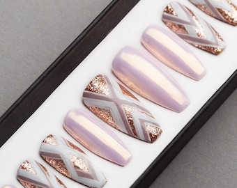 Geometry and Pearl Press on Nails | Hand painted Nail Art | Fake Nails | False Nails | Artificial Nails | Glitters