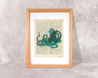 Watercolor octopus print-octopus print-octopus dictionary print-Turquoise Octopus print-coastal print-ocean wall art-by NATURA PICTA-DP046