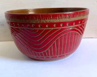Handmade Sgraffito Stoneware Bowl