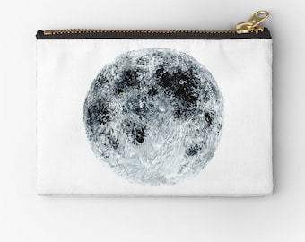 Moon Pouch, moon makeup bag, moon pencil pouch, grey pouch, white pouch, gray pouch