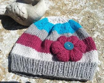 Wool Baby Cloche, Peruvian Highland Wool, Wool Baby Hat, Hand Knit Baby Girl Hat, Knitted Flower, Unique Baby Gift, Newborn, Photo Prop