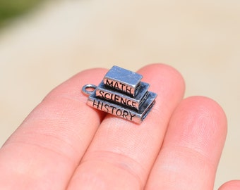 BULK 20  Silver  Math, Science and History Book Charms SC2723