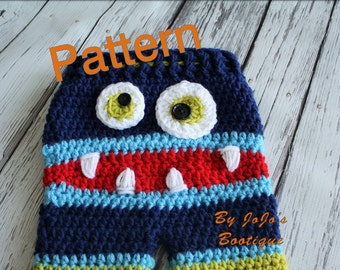 Monster Baby Pants PATTERN - Striped Baby Monster Pants - PDF Crochet Monster Pants - Baby  Boy Pants - by JoJo's Bootique