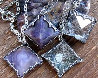 Crystal Amethyst Quartz Pyramid Pendant Necklace,Boho Jewelry