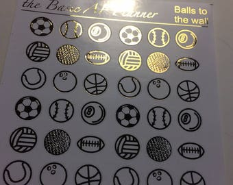 FOILED Sports balls stickers (small) | 36 planner stickers