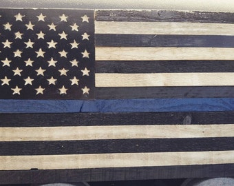 Black and White Thin Blue Line American Flag