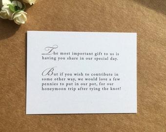 Wedding Invitation Poem for money honeymoon poem card gift information insert