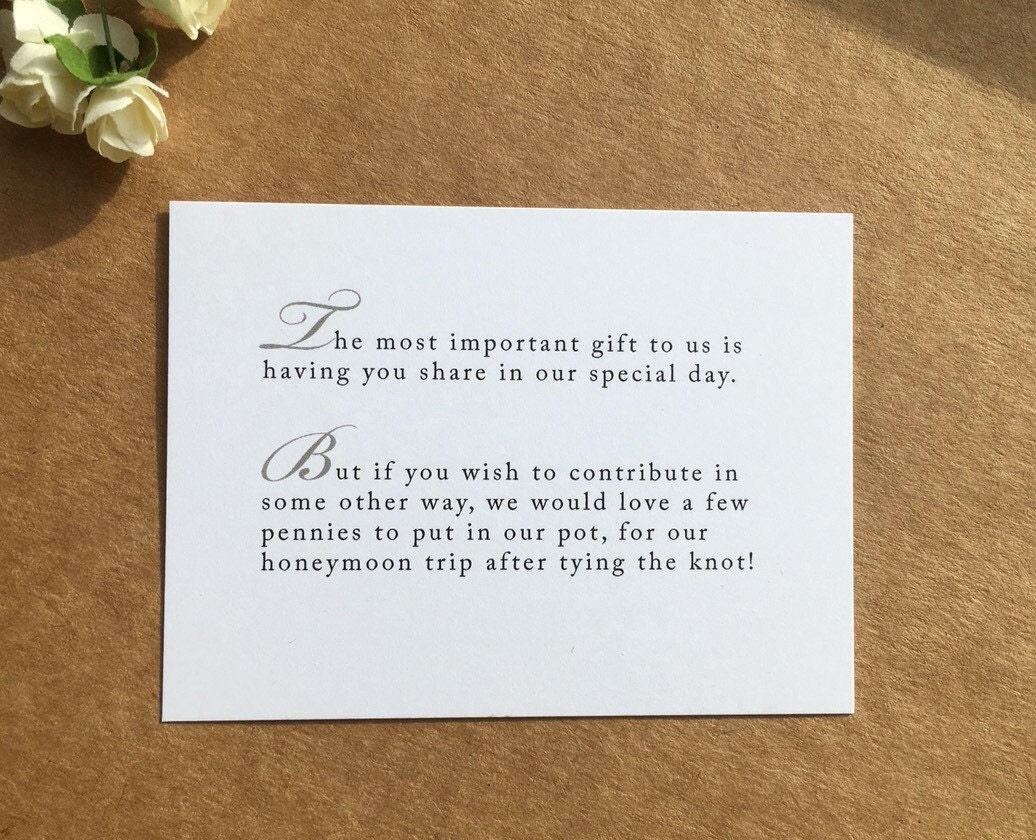 Wedding Poems For Money Gifts: Wedding Invitation Poem For Money Honeymoon Poem Card Gift