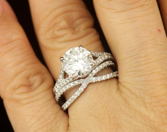 Lydia Set Moissanite and Diamond Engagement Ring and Diamond