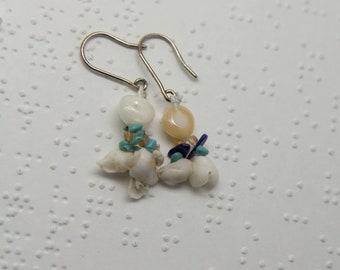 Memories of warm seas - earrings - dangling - silver shells and gemstones- pierced ears