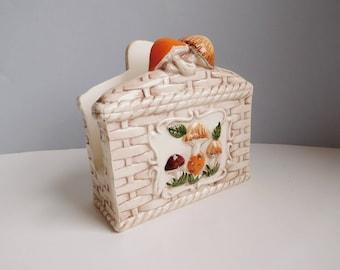 Vintage mushroom napkin holder 1970s ceramic napkin holder