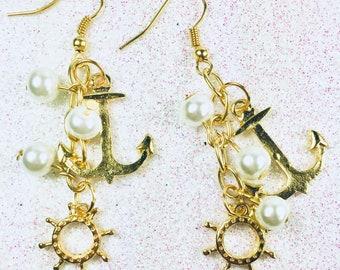 Ship's Wheel Earring, Anchor Earrings,  Gold Naval Earrings, Boat Earrings, Summer Earrings, Nautical Earrings, Cruise Earrings, Sea Earring