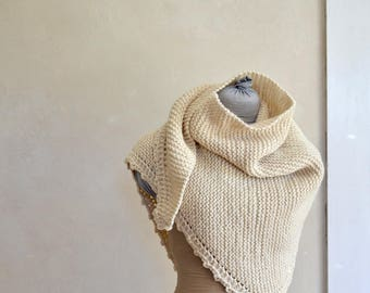 Hand Knit Bulky Shawl Wrap Triangle Scarf / Creamy Off White Wool Natural Undyed Large Size