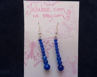 Blue Glass ,Drop Earrings