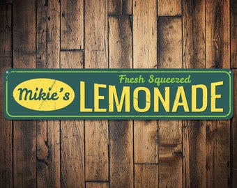 Fresh Squeezed Lemonade Sign, Personalized Lemonade Stand Sign, Custom Beach House Sign, Metal Beach Decor - Quality Aluminum ENS1001240
