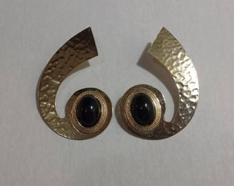 Oversized Gold and Black Vintage Curve 80's Earrings