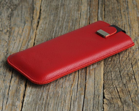 Red Sony Xperia Z1 Z2 Z3 Z3+ Z4 Z5 T3 cover case with magnetic flap. Genuine leather sleeve pouch