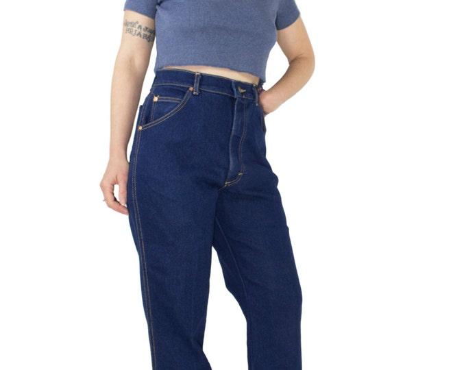 Vintage 70s Lee Riders Jeans | High Waisted Dark Blue Denim | Size 14 | Retro Rockabilly Pants