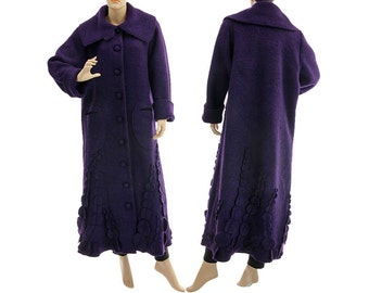 Boho purple maxi wool coat, Fall Winter Spring purple boiled wool coat with circle appliqués, coat medium to plus size M L, US size 12-16