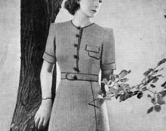 Vintage Ladies Kitterd Dress, Knitting Pattern, 1940s (PDF) Pattern, Bestway 946