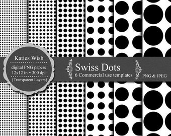 Instant Download Swiss Dots Digital Paper Kit 12x12 inch png Commercial Use Overlays