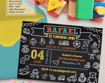 Toys First Birthday Party invitations Toys Chalkboard DIY printable Birthday invite