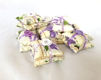 Set of 3 dry lavender filled double pillows, fragrant lavender sachet, with crochet flowers, lavender sachet, lavender pillow,
