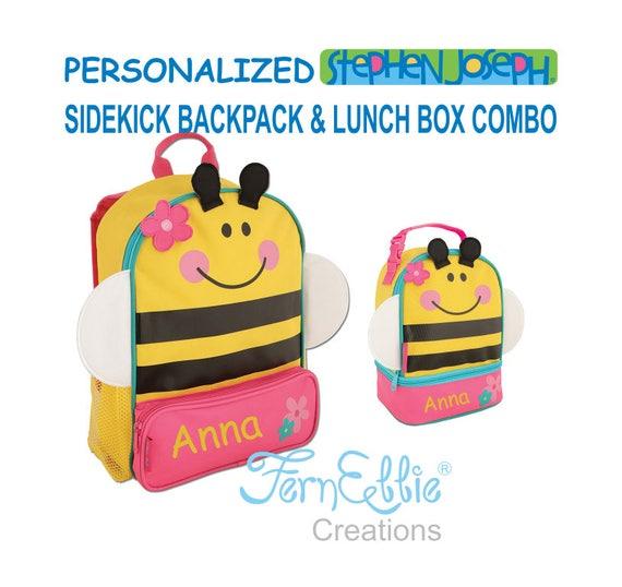 Personalized Stephen Joseph BEE Sidekick Backpack and Lunch Pal Combo.