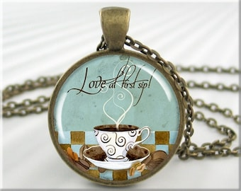 Coffee Art Pendant, Love Coffee Jewelry, Coffee Cup Necklace, Resin Pendant, Coffee Cafe Art, Gift Under 20, Round Bronze Pendant 483RB
