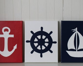 Nautical Nursery Decor Painting Sailboat Nursery Ship's Wheel Anchor Navy Red White Nautical Wall Art Nautical Painting Bathroom Decor