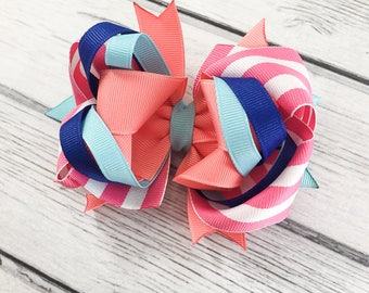 Royal Blue Aqua Pink Coral and White M2M Layered Boutique Bow
