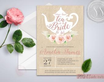 Bridal Tea Party Invitation, Bridal Shower, Tea Party Invitation