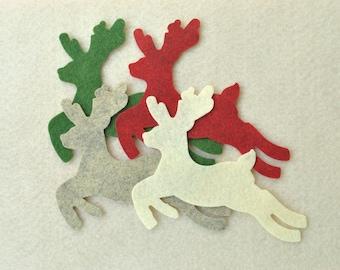 8 Piece Large Die Cut WOOL Blend Felt Deer, Country Colors