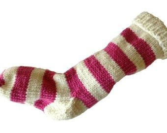 Christmas Stocking Hand Knit Natural White and Pink Striped Santa Sock