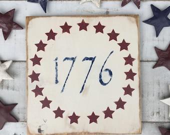 Patriotic decor / 1776/ American Sign/ summer decor/ Americana/ Country decor/ home decor/ gifts/ farmhouse decor/ modern farmhouse