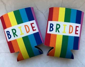 rainbow bride/groom beverage holder // bride/groom to be gift or bachelor/bachelorette favor