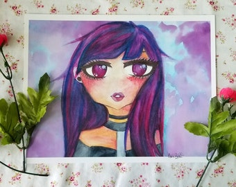 Mystical Goth Girl, Midnight Beauty, Original Character RoseQuartz, Done in Watercolors, Surrounded by Flowers, Kawaii Anime Manga Art Print