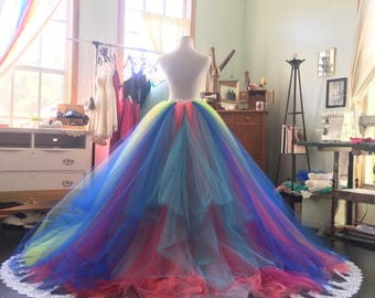 Rainbow wedding dress, Rainbow gown, tutu dress, bridal gown, rainbow bridal dress, ball gown, tutu skirt, rainbow tutu